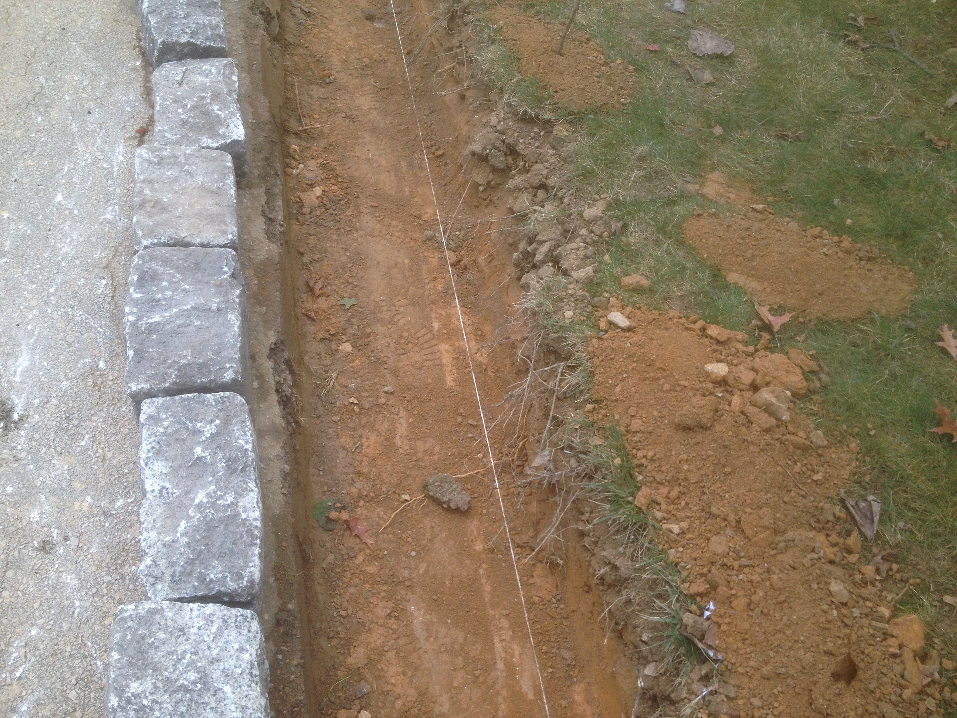 Excavation for cobblestone curb